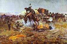 Camp Cook's Troubles Charles Russell Bucking Horse  Chuck Wagon Cowboys  36x24