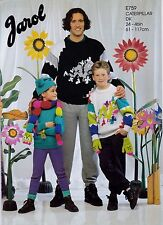 JAROL KNITTING PATTERN E759 DK CATERPILLAR SWEATER,SCARF,HAT&MITTS CHEST 24-46""