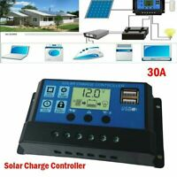 30A/20A/10A 12V/24V LCD Solar Panel Battery Regulator Charge Controller Dual USB