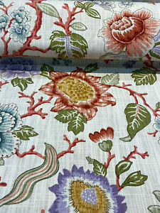 P Kaufmann Coral Grove Cream Slubbed Cotton Fabric By the Yard