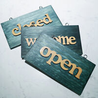 Welcome Sign Closed Open Wooden Vintage Plate Cafe Door Hanging Poster Welcome D