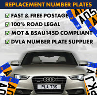 Pair of Quality Car Number Plates - Free Postage - Free Fixing Kit