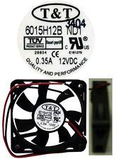 NEW Ball Bearing 60mm*15mm T&T 6015H12B-ND1 12VDC/12V/9V Fan/Cooler 2wire 6015