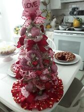 New listing Shabby Red ,Pink Hearts, Roses & Bows Golden Valentines Tabletop Tree Glam Ooak