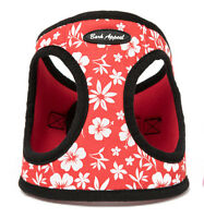 Red Hibiscus Dog Harness Step In Canvas Mesh EZ Wrap No Choke Bark Appeal Puppy