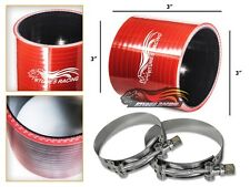 "3"" Silicone Hose/Intercooler Pipe Straight Coupler RED +T-Bolt Clamp For Ford"