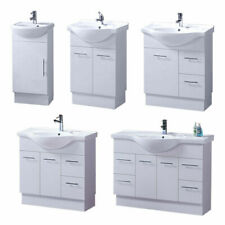 Semi Recessed Bathroom Vanity Ceramic Basin Sink Storage Cabinet Kickboard