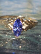 Tanzanite Marquise Cut Ring 10kt Solid Yellow Gold