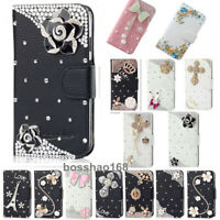 For Motorola Moto One Action Diamonds Leather Flip card Wallet Case phone cover