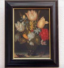 altes Ölgemälde Vanitas Stilleben Eidechse Schmetterling Blumen Antiquität antik