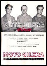 PUBBLICITA' 1951 MOTO GILERA MASETTI PAGANI FRATELLI MILANI G.P. NAZIONI MONZA