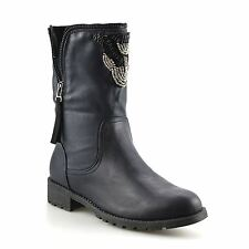 Ladies Womens Mid Calf Low Cleated Block Heel Ankle Cowboy Biker Boots Shoe Size