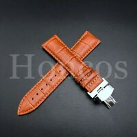22MM LEATHER WATCH BAND STRAP CLASP FOR OMEGA SEAMASTER PLANET OCEAN ORANGE