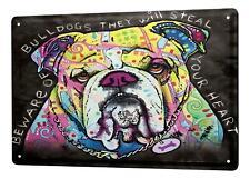 Tin Sign Animal Shelter Bulldog heart