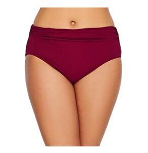 Gottex Women's Tutti Frutti Side-Ruched High-Waist Bikini Bottoms Red 12, $44