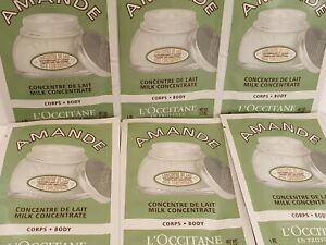 L'Occitane 60ml of Amande Body Milk Concentrate 10 x 6ml sample sachets