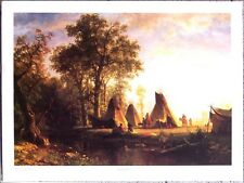 "Indian Encampment by Albert Bierstadt - 31"" X 23"" Western Art Print"
