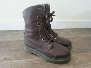 Dr Doc Martens Aimilie 9-Eye Oxblood Leather Fold-Down Boot Size 6