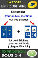 4 STICKERS LOGO REGION + F PLAQUE IMMATRICULATION DEPARTEMENT 974 OUTRE MERS