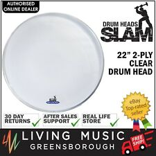 "NEW Slam 22"" Inch 2-Ply Clear Bass Drum Head Skin"