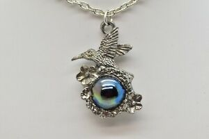 """18"""" HUMMINGBIRD AND FLOWERS PEWTER PENDANT NECKLACE WITH GLASS ORB BALL"""