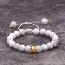 8mm Stone Beads Gold White Charm CZ Crown Beaded Hand-Weave Bracelets Jewelry