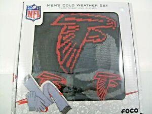 NFL Atlanta Falcons Black Camo Knit Glove & Scarf Set, Red/Black/Gray
