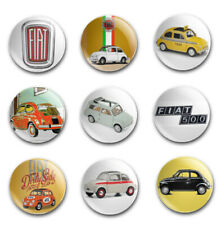 25mm  BUTTON BADGES X9 FEATURING THE CLASSIC FIAT 500
