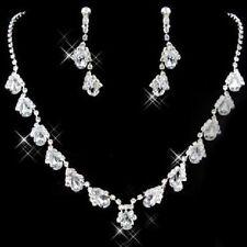Rhinestone Set Wedding Bride Jewelry Set Necklace Ear Stud Earring Drop 3