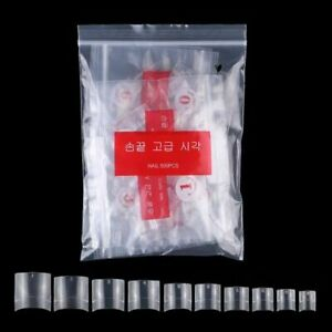 500Pcs/Bag French Short Square Nail Tip False Nail 10Sizes(0.6-1.4cm) Half Cover