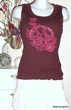 NTS NOT THE SAME Maglia Top - M 38 rot bordeaux vino - Clea BACCA POTARE cotone