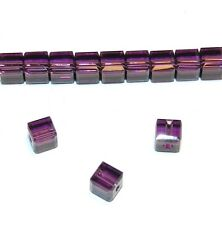 SCC113 Amethyst Purple Faceted Square Cube 4mm Swarovski Crystal Beads 12pc