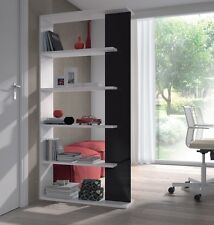 Adila Black and White Gloss Bookcase Room Divider Shelf Shelving Display Unit