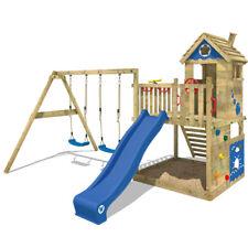 WICKEY Smart Lodge 120 Stelzenhaus Garten Spielturm Kletterturm blaue Rutsche