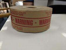 "3"" x 450' Reinforced Water Activated WARNING tape heavy duty gummed 10 rolls/ cs"