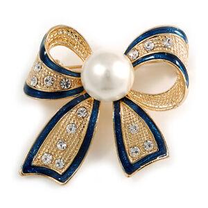 Gold Tone, navy blau emailliert, Kristall, Perle Schleife Brosche - 40mm L