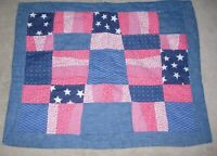 QUILTED STAR PATCH RED WHITE BLUE PATRIOTIC USA Standard Size Pillow Sham 20x26