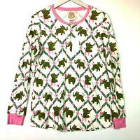 Beaufort bonnet pajama sleep top long sleeve green pink elephants small new nwt