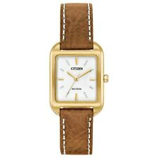 Citizen Eco-Drive Ladies EM0492-02A Silhouette Brown Leather Rectangular Watch