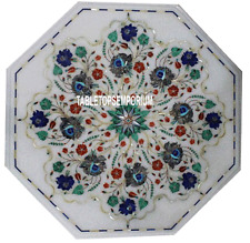 "18"" Marble Octagon Table Top Malachite Pauashell Stone Inlay Work Outdoor Decor"