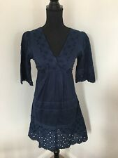 OASIS Navy broderie anglaise Sun Dress With Tie Back Size 8 Boho Landgirl