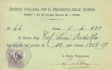 Società Italiana Progresso Scienze inviata Antropologo Ridolfo Livi Firenze 1920