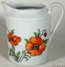 Limoges Creamer Poppy Orange Green Floral