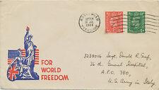 """2468 1944 GVI ½ D + 1 D VF ill. propaganda cover """"FOR WORLD FREEDOM"""" ITALY/USA"""