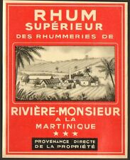 MARTINIQUE ETIQUETTE RHUM RUM RON DE RIVIERE-MONSIEUR