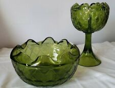 Bowl & Pedestal Compote Dark Green Indiana Glass Duette Quilted Diamond Vintage