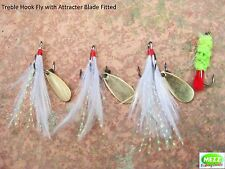 Fly Fishing Treble Hook Flies With Attracter Blades Fitted  (Set of 3)