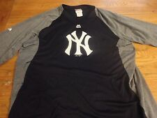 EUC Majestic Therma-Base On-Field NEW YORK YANKEES Warm Up Jersey Shirt Large XL