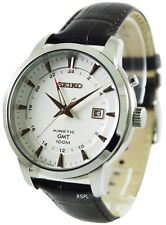 Seiko Kinetic GMT Gents Leather Watch - Brand New With Warranty - SUN035P1