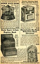 1950 small Print Ad of Color Television, Horse Race, Uncle Sam & Juke-Box Bank